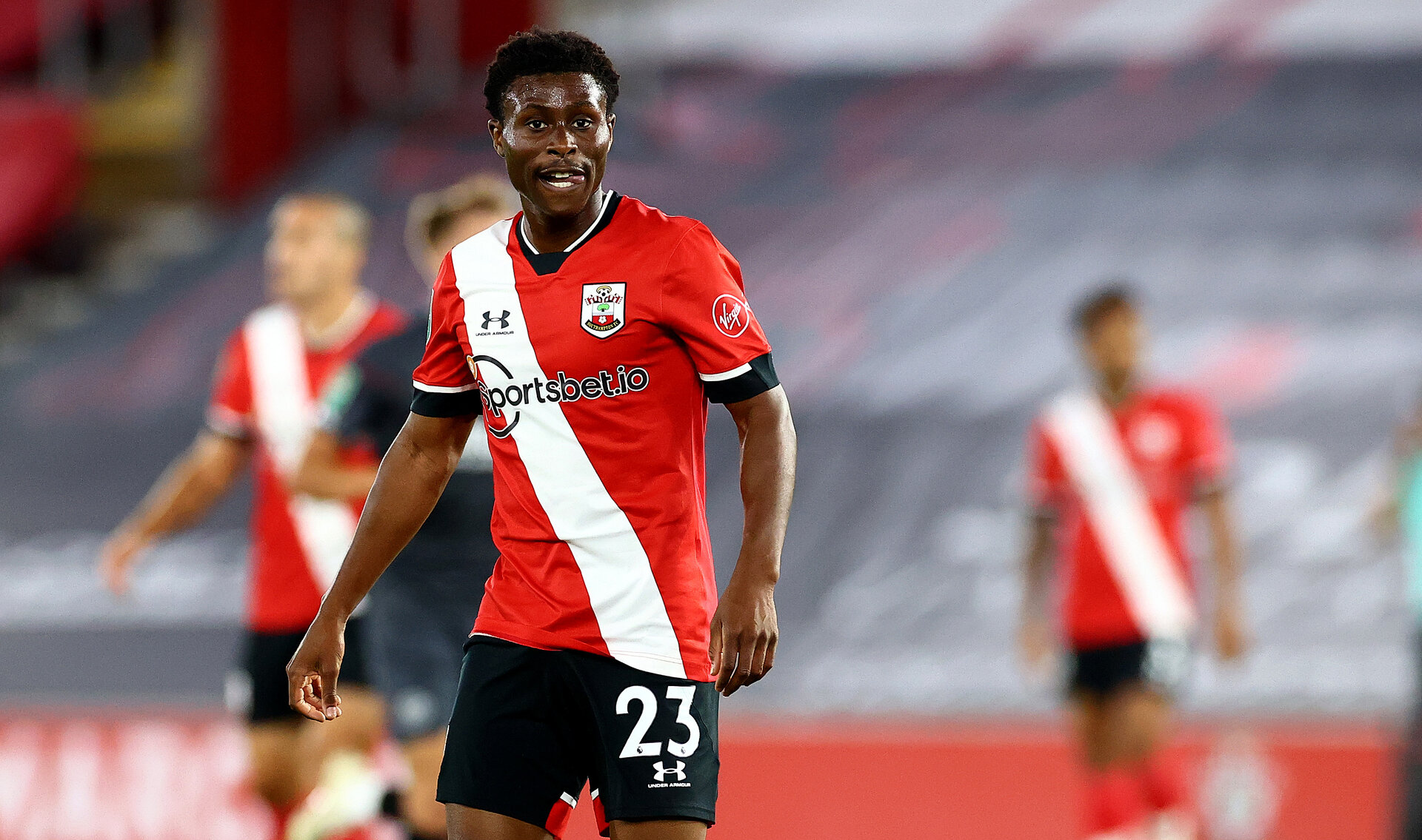 SOUTHAMPTON, ENGLAND - SEPTEMBER 16: Nathan Tella of Southampton during the Carabao Cup 2nd round match between Southampton FC and Brentford FC, at St. Mary's Stadium on September 16, 2020 in Southampton, England. (Photo by Matt Watson/Southampton FC via Getty Images)