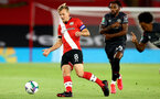 SOUTHAMPTON, ENGLAND - SEPTEMBER 16: James Ward-Prowse (L) of Southampton during the second round of the Carabao Cup match between Southampton FC and Brentford FC at St. Mary's Stadium on September 16, 2020 in Southampton, England. (Photo by Matt Watson/Southampton FC via Getty Images)