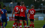 SOUTHAMPTON, ENGLAND - SEPTEMBER 18: Dan N'Lundulu (L) and Callum Slattery (R) of Southampton during the Premier League 2 match between Southampton FC B Team and Chelsea FC at Snows Stadium on September 18, 2020 in Southampton, England. (Photo by Isabelle Field/Southampton FC via Getty Images)