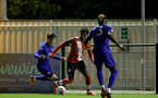 SOUTHAMPTON, ENGLAND - SEPTEMBER 18: Ramello Mitchell (center)  of Southampton during the Premier League 2 match between Southampton FC B Team and Chelsea FC at Snows Stadium on September 18, 2020 in Southampton, England. (Photo by Isabelle Field/Southampton FC via Getty Images)