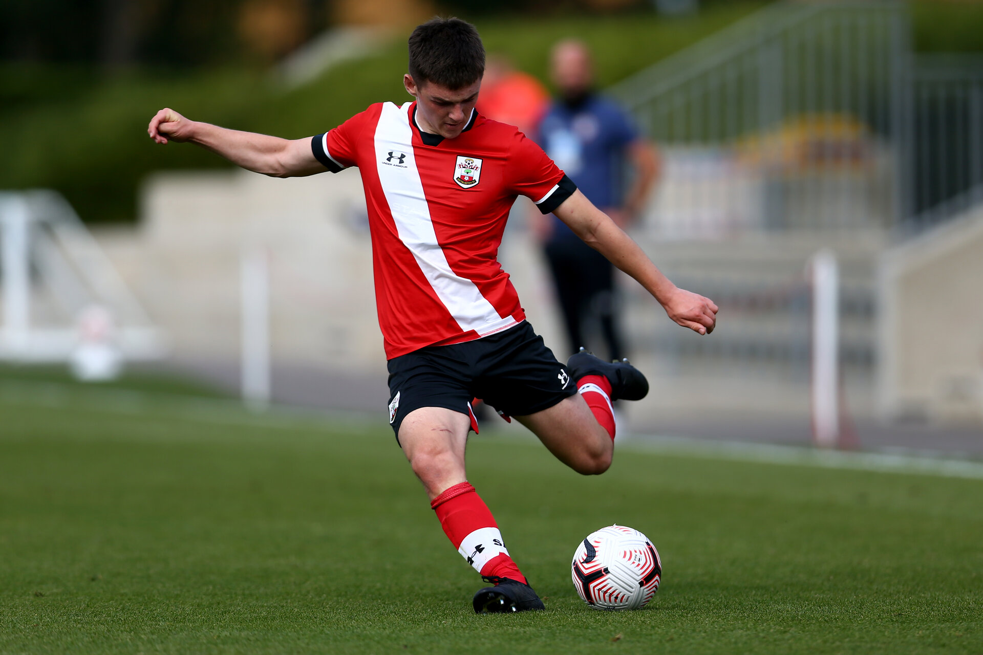 SOUTHAMPTON, ENGLAND - SEPTEMBER 19: Matt Carson of Southampton during the Premier League U18 match between Southampton FC U18 and Crystal Palace FC at Staplewood Training Ground on September 19, 2020 in Southampton, England. (Photo by Isabelle Field/Southampton FC via Getty Images)
