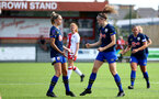 SOUTHAMPTON, ENGLAND - SEPTEMBER 20: Ella Pusey (R) celebrates goal wth Phoebe Williams (L) during the FAWNL match between Southampton Women and Poole Town FC at Specsavers County Ground on September 20, 2020 in Poole, England. (Photo by Isabelle Field/Southampton FC via Getty Images)