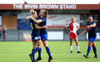 SOUTHAMPTON, ENGLAND - SEPTEMBER 20: Phoebe Williams (L) celebrates Ella Pusey (R) goal with her during the FAWNL match between Southampton Women and Poole Town FC at Specsavers County Ground on September 20, 2020 in Poole, England. (Photo by Isabelle Field/Southampton FC via Getty Images)
