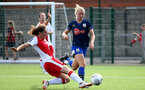 SOUTHAMPTON, ENGLAND - SEPTEMBER 20: Kelly Snook (R) of Southampton during the FAWNL match between Southampton Women and Poole Town FC at Specsavers County Ground on September 20, 2020 in Poole, England. (Photo by Isabelle Field/Southampton FC via Getty Images)