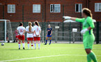 SOUTHAMPTON, ENGLAND - SEPTEMBER 20: Phoebe Williams (center) of Southampton takes free kick during the FAWNL match between Southampton Women and Poole Town FC at Specsavers County Ground on September 20, 2020 in Poole, England. (Photo by Isabelle Field/Southampton FC via Getty Images)