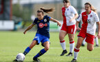SOUTHAMPTON, ENGLAND - SEPTEMBER 20: Sophia Pharoah (L) of Southampton during the FAWNL match between Southampton Women and Poole Town FC at Specsavers County Ground on September 20, 2020 in Poole, England. (Photo by Isabelle Field/Southampton FC via Getty Images)
