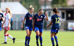 SOUTHAMPTON, ENGLAND - SEPTEMBER 20: Phoebe Williams (L), Shannon Siewright and Sophia Pharoah (R) celebrates Shannon Siewright goal during the FAWNL match between Southampton Women and Poole Town FC at Specsavers County Ground on September 20, 2020 in Poole, England. (Photo by Isabelle Field/Southampton FC via Getty Images)