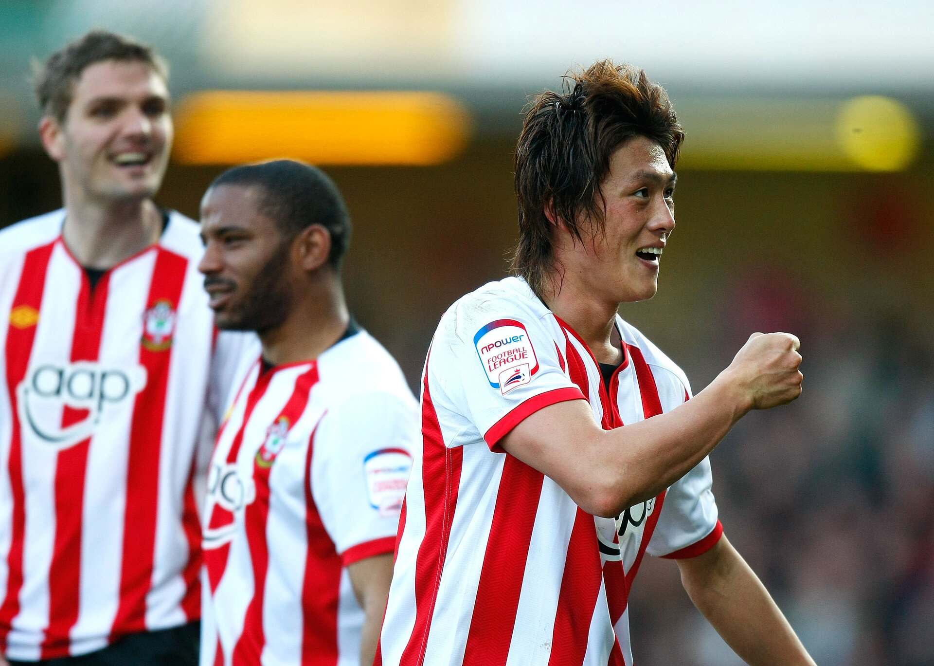 WATFORD, ENGLAND - FEBRUARY 25: Tadanari Lee of Southampton celebrates during the npower Championship match between Watford and Southampton at Vicarage Road on February 25, 2012 in Watford, England. (Photo by Tom Dulat/Getty Images)