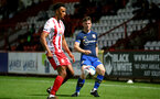 STEVENAGE, ENGLAND - SEPTEMBER 22: Romeo Hutton (L) of Stevenage and Will Ferry (R) of Southampton during the EFL Trophy match between Stevenage FC and Southampton FC B Team  at the Lamex Stadium on September 22, 2020 in Stevenage, England. (Photo by Isabelle Field/Southampton FC via Getty Images)