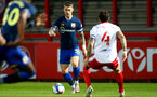 STEVENAGE, ENGLAND - SEPTEMBER 22: Callum Slattery (L) of Southampton and  Romain Vincelot (R) of Stevenage during the EFL Trophy match between Stevenage FC and Southampton FC B Team  at the Lamex Stadium on September 22, 2020 in Stevenage, England. (Photo by Isabelle Field/Southampton FC via Getty Images)