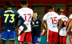 STEVENAGE, ENGLAND - SEPTEMBER 22: Callum Slattery (center) of Southampton waiting to take a free kick during the EFL Trophy match between Stevenage FC and Southampton FC B Team  at the Lamex Stadium on September 22, 2020 in Stevenage, England. (Photo by Isabelle Field/Southampton FC via Getty Images)
