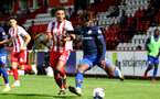 STEVENAGE, ENGLAND - SEPTEMBER 22: Romeo Hutton (L) of Stevenage and Alex Janekewitz (R) of Southampton during the EFL Trophy match between Stevenage FC and Southampton FC B Team  at the Lamex Stadium on September 22, 2020 in Stevenage, England. (Photo by Isabelle Field/Southampton FC via Getty Images)