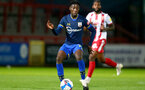 STEVENAGE, ENGLAND - SEPTEMBER 22: Kgaogelo Chauke of Southampton during the EFL Trophy match between Stevenage FC and Southampton FC B Team  at the Lamex Stadium on September 22, 2020 in Stevenage, England. (Photo by Isabelle Field/Southampton FC via Getty Images)