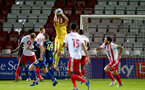 STEVENAGE, ENGLAND - SEPTEMBER 22: Harry Lewis of Southampton in the air catching a cross during the EFL Trophy match between Stevenage FC and Southampton FC B Team  at the Lamex Stadium on September 22, 2020 in Stevenage, England. (Photo by Isabelle Field/Southampton FC via Getty Images)