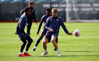 SOUTHAMPTON, ENGLAND - SEPTEMBER 24: Kyle Walker-Peters(L) and Stuart Armstrong during a Southampton FC training session at the Staplewood Campus on September 24, 2020 in Southampton, England. (Photo by Matt Watson/Southampton FC via Getty Images)