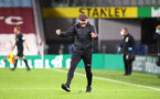 BURNLEY, ENGLAND - SEPTEMBER 26: Ralph Hasenhuttl Southampton manager celebrates at the end of the match during the Premier League match between Burnley and Southampton at Turf Moor on September 26, 2020 in Burnley, United Kingdom. Sporting stadiums around the UK remain under strict restrictions due to the Coronavirus Pandemic as Government social distancing laws prohibit fans inside venues resulting in games being played behind closed doors. (Photo by Matt Watson/Southampton FC via Getty Images)