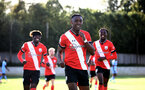 SOUTHAMPTON, ENGLAND - SEPTEMBER 26: Dan N'Lundulu of Southampton goal celebration during Premier League 2 Match between Southampton B Team and West Ham United at Staplewood Training Ground on September 26, 2020 in Southampton, England. (Photo by Isabelle Field/Southampton FC via Getty Images)
