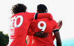 SOUTHAMPTON, ENGLAND - SEPTEMBER 26: Alex Janekewitz (L) congratulating Dan N'Lundulu (R) on first goal during Premier League 2 Match between Southampton B Team and West Ham United at Staplewood Training Ground on September 26, 2020 in Southampton, England. (Photo by Isabelle Field/Southampton FC via Getty Images)