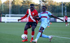 SOUTHAMPTON, ENGLAND - SEPTEMBER 26: Pascal Kpohomouh (L) of Southampton and Emmanuel Longelo (R) of West Ham during Premier League 2 Match between Southampton B Team and West Ham United at Staplewood Training Ground on September 26, 2020 in Southampton, England. (Photo by Isabelle Field/Southampton FC via Getty Images)