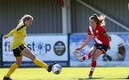 Southampton, ENGLAND - SEPTEMBER 27: Alisha Ware (R) of Southampton during the FAWNL match between Southampton Women and Buckland Athletic at Snows Stadium on September 27, 2020 in Southampton, United Kingdom (Photo by Isabelle Field/Southampton FC via Getty Images)