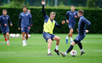 SOUTHAMPTON, ENGLAND - SEPTEMBER 30: James Ward-Prowse(L) and Callum Slattery during a Southampton FC training session at the Staplewood Campus on September 30, 2020 in Southampton, England. (Photo by Matt Watson/Southampton FC via Getty Images)