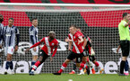 SOUTHAMPTON, ENGLAND - OCTOBER 04: Moussa Djenepo of Southampton scoring first goal of the match during the Premier League match between Southampton and West Bromwich Albion at St Mary's Stadium on October 4, 2020 in Southampton, United Kingdom. Sporting stadiums around the UK remain under strict restrictions due to the Coronavirus Pandemic as Government social distancing laws prohibit fans inside venues resulting in games being played behind closed doors. (Photo by Matt Watson/Southampton FC via Getty Images)