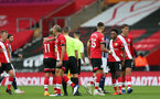 SOUTHAMPTON, ENGLAND - OCTOBER 04: Saints at full-time during the Premier League match between Southampton and West Bromwich Albion at St Mary's Stadium on October 4, 2020 in Southampton, United Kingdom. Sporting stadiums around the UK remain under strict restrictions due to the Coronavirus Pandemic as Government social distancing laws prohibit fans inside venues resulting in games being played behind closed doors. (Photo by Chris Moorhouse/Southampton FC via Getty Images)