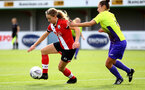 SOUTHAMPTON, ENGLAND - OCTOBER 11: Lucia Kendall (L) of Southampton during FAWNL match between Southampton Women and Exeter City at Snows Stadium on October 11, 2020 in Southampton, England. (Photo by Isabelle Field/Southampton FC via Getty Images)
