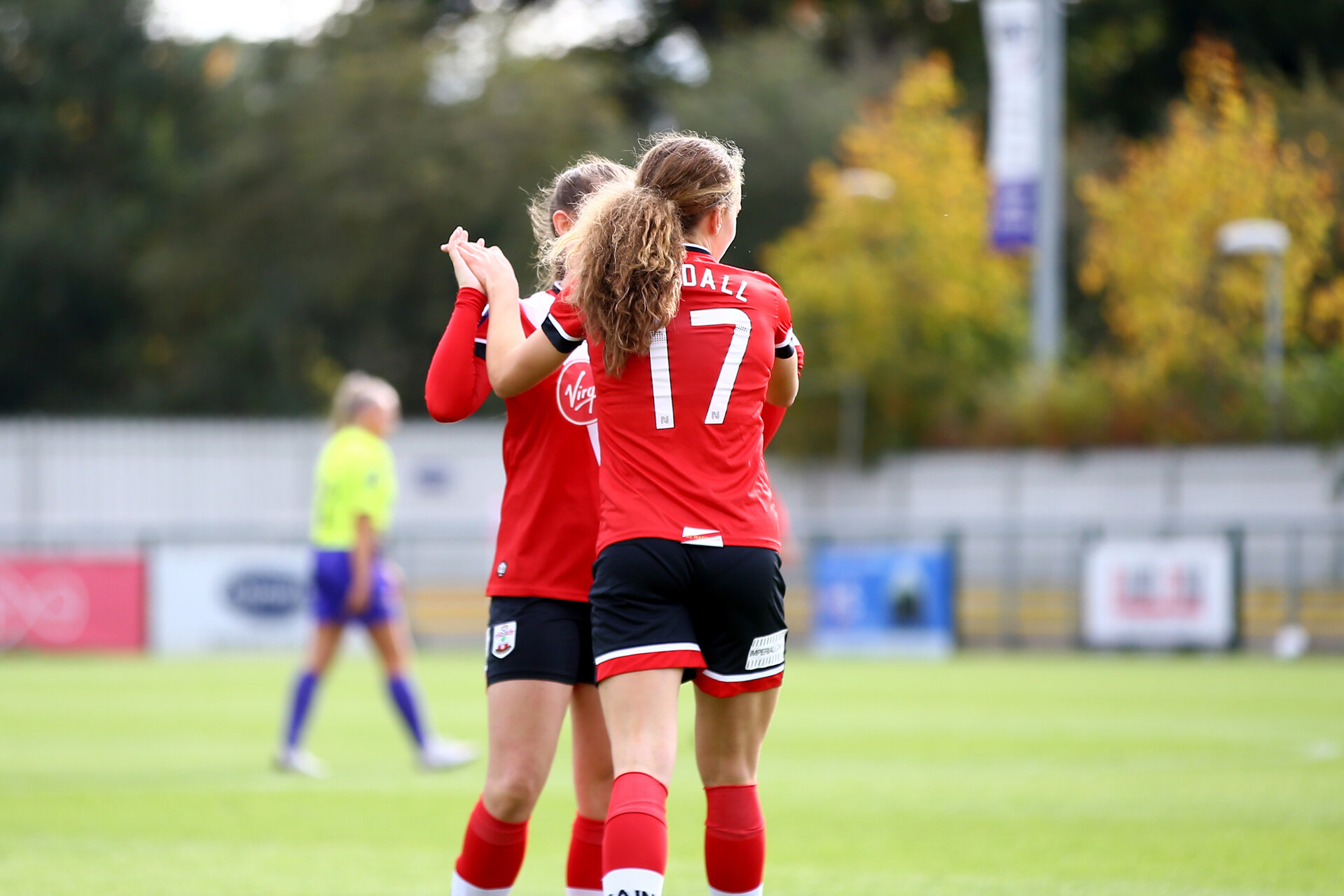 SOUTHAMPTON, ENGLAND - OCTOBER 11: Lucia Kendall of Southampton goal celebration during FAWNL match between Southampton Women and Exeter City at Snows Stadium on October 11, 2020 in Southampton, England. (Photo by Isabelle Field/Southampton FC via Getty Images)