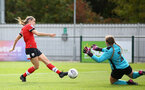 SOUTHAMPTON, ENGLAND - OCTOBER 11: Ella Pusey (L) of Southampton during FAWNL match between Southampton Women and Exeter City at Snows Stadium on October 11, 2020 in Southampton, England. (Photo by Isabelle Field/Southampton FC via Getty Images)