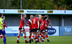 SOUTHAMPTON, ENGLAND - OCTOBER 11: Southampton players celebrate Rachel Panting goal during FAWNL match between Southampton Women and Exeter City at Snows Stadium on October 11, 2020 in Southampton, England. (Photo by Isabelle Field/Southampton FC via Getty Images)