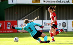SOUTHAMPTON, ENGLAND - OCTOBER 11: Rachel Panting (R) of Southampton during FAWNL match between Southampton Women and Exeter City at Snows Stadium on October 11, 2020 in Southampton, England. (Photo by Isabelle Field/Southampton FC via Getty Images)