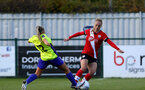SOUTHAMPTON, ENGLAND - OCTOBER 11: Rosie Parnell (R) of Southampton during FAWNL match between Southampton Women and Exeter City at Snows Stadium on October 11, 2020 in Southampton, England. (Photo by Isabelle Field/Southampton FC via Getty Images)
