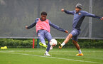 SOUTHAMPTON, ENGLAND - OCTOBER 12: Nathan Tella(L) and Nathan Redmond during a Southampton FC training session at the Staplewood Campus on October 12, 2020 in Southampton, England. (Photo by Matt Watson/Southampton FC via Getty Images)