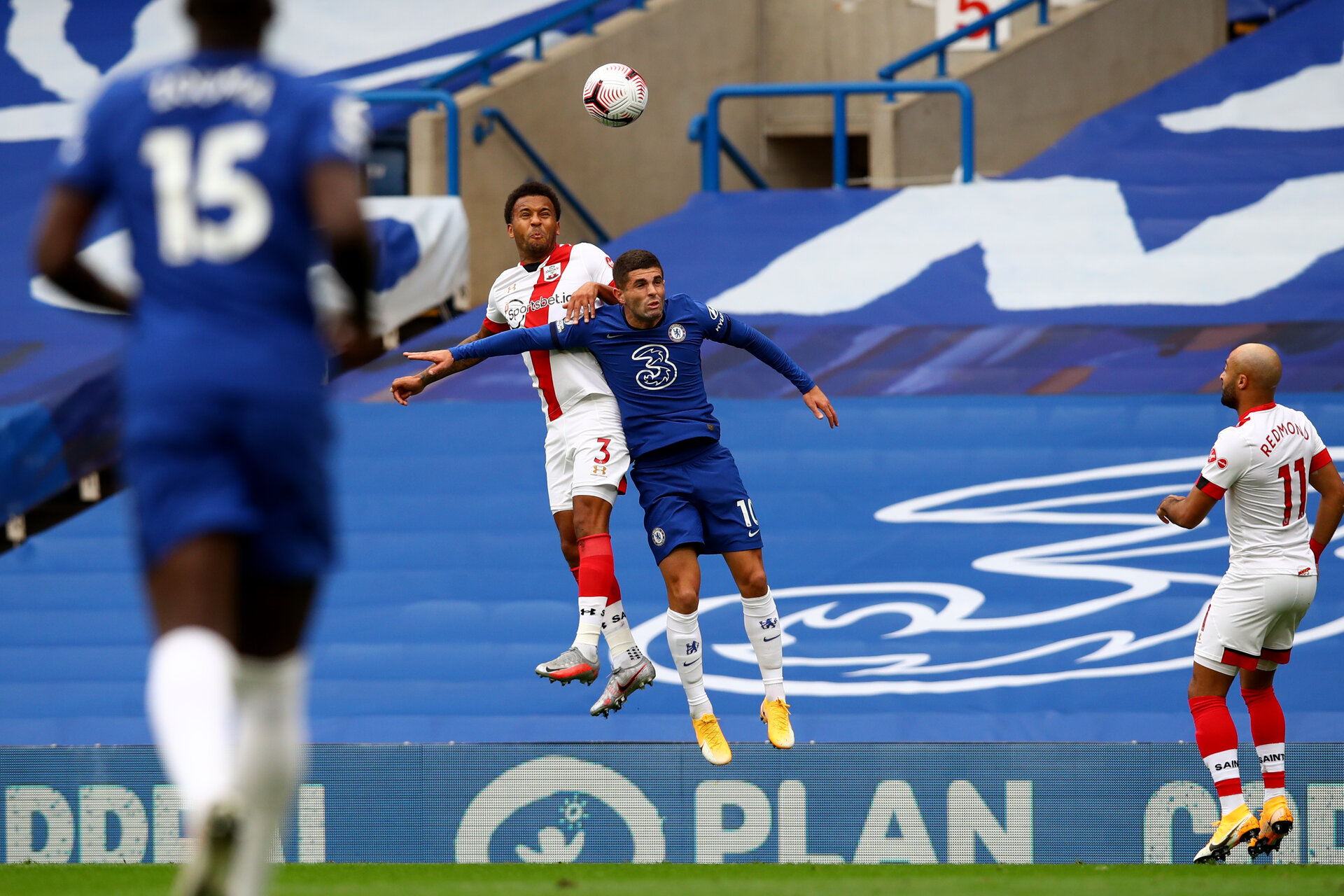 LONDON, ENGLAND - OCTOBER 17:  Ryan Bertrand (L) of Southampton and Christian Pulisic (R) of Chelsea during the Premier League match between Chelsea and Southampton at Stamford Bridge on October 17, 2020 in London, United Kingdom. Sporting stadiums around the UK remain under strict restrictions due to the Coronavirus Pandemic as Government social distancing laws prohibit fans inside venues resulting in games being played behind closed doors. (Photo by Matt Watson/Southampton FC via Getty Images)