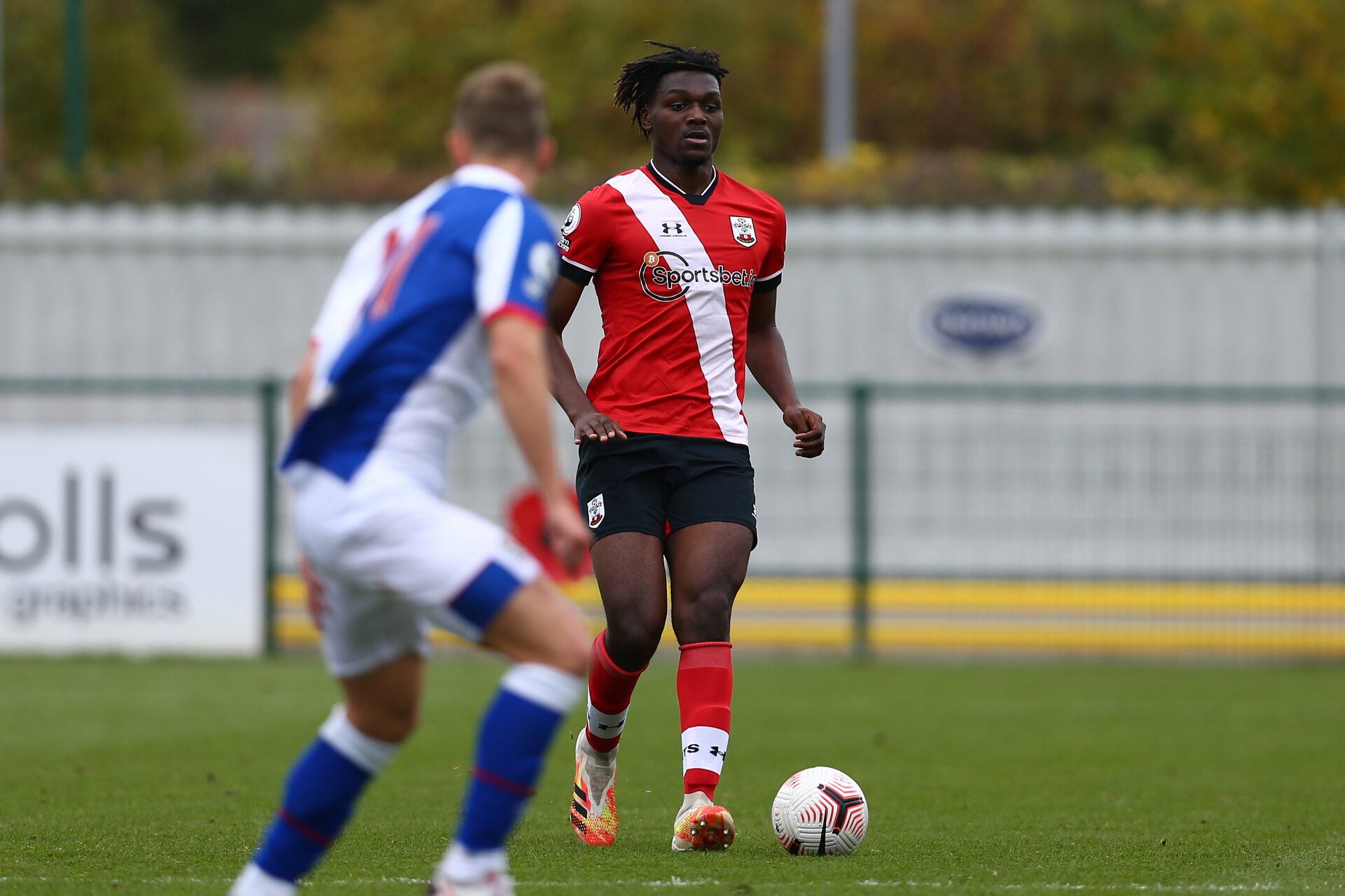 SOUTHAMPTON, ENGLAND - OCTOBER 18: Allan Tchaptchet of Southampton  during the Premier League 2 match between Southampton FC B Team and Blackburn Rovers FC at Snows Stadium on October 18, 2020 in Southamtpon, United Kingdom. (Photo by Isabelle Field/Southampton FC via Getty Images)