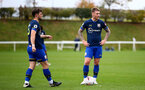 DERBY, ENGLAND - OCTOBER 23: Will Ferry (L) of Southampton and Callum Slattery (R) of Southampton lining up for a free kick during Premier League 2 match between Derby County and Southampton FC B Team at Derby County Training Ground on October 23, 2020 in Derby, England. (Photo by Isabelle Field/Southampton FC via Getty Images) (Photo by Isabelle Field/Isabelle Field)