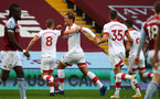 BIRMINGHAM, ENGLAND - NOVEMBER 01: Jannik Vestergaard(center) of Southampton goal celebration during the Premier League match between Aston Villa and Southampton at Villa Park on November 01, 2020 in Birmingham, England. Sporting stadiums around the UK remain under strict restrictions due to the Coronavirus Pandemic as Government social distancing laws prohibit fans inside venues resulting in games being played behind closed doors. (Photo by Matt Watson/Southampton FC via Getty Images)