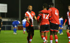SOUTHAMPTON, ENGLAND - NOVEMBER 02: Tyreke Johnson(L) of Southampton congratulating Enzo Robise(center) of Southampton on his goal during the Hampshire FA Senior Cup semi-final between Eastleigh FC and Southampton FC B Team at Silverlake Stadium on November 02, 2020 in Southampton, England. (Photo by Isabelle Field/Southampton FC via Getty Images) (Photo by Isabelle Field/Isabelle Field)