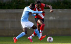 SOUTHAMPTON, ENGLAND - NOVEMBER 07: Dan N'Lundulu(R) of Southampton during the Premier League 2 match between Southampton FC B Team and Manchester City at Staplewood Training Ground on November 07, 2020 in Southampton, England. (Photo by Isabelle Field/Southampton FC via Getty Images) (Photo by Isabelle Field/Isabelle Field)