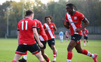 SOUTHAMPTON, ENGLAND - NOVEMBER 07: Dan N'Lundulu (R) of Southampton runs to celebrate with Will Ferry(L) of Southampton after he scores during the Premier League 2 match between Southampton FC B Team and Manchester City at Staplewood Training Ground on November 07, 2020 in Southampton, England. (Photo by Isabelle Field/Southampton FC via Getty Images) (Photo by Isabelle Field/Isabelle Field)