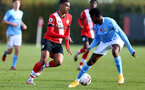 SOUTHAMPTON, ENGLAND - NOVEMBER 07: Yan Valery (L) of Southampton during the Premier League 2 match between Southampton FC B Team and Manchester City at Staplewood Training Ground on November 07, 2020 in Southampton, England. (Photo by Isabelle Field/Southampton FC via Getty Images) (Photo by Isabelle Field/Isabelle Field)