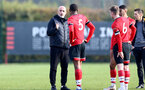 SOUTHAMPTON, ENGLAND - NOVEMBER 07: Craig Fleming talking to the B Team players at the end of the Premier League 2 match between Southampton FC B Team and Manchester City at Staplewood Training Ground on November 07, 2020 in Southampton, England. (Photo by Isabelle Field/Southampton FC via Getty Images) (Photo by Isabelle Field/Isabelle Field)