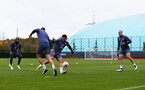 SOUTHAMPTON, ENGLAND - NOVEMBER 11: L to R Kyle Walker-Peters, Jack Stephens, Che Adams and Oriol Romeu during a Southampton FC training session at the Staplewood Campus on November 11, 2020 in Southampton, England. (Photo by Matt Watson/Southampton FC via Getty Images)