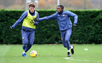 SOUTHAMPTON, ENGLAND - NOVEMBER 21: Jannik Vestergaard(L) and Dan N'Lundulu during a Southampton FC training session at the Staplewood Campus on November 21, 2020 in Southampton, England. (Photo by Matt Watson/Southampton FC via Getty Images)