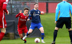 LIVERPOOL, ENGLAND - NOVEMBER 21: Fidel O'Rourke (L) of Liverpool and Callum Slattery (R) of Southampton during the Premier League 2 match between Liverpool and Southampton FC B Team at the Liverpool Academy on November 21, 2020 in Liverpool , England. (Photo by Isabelle Field/Southampton FC via Getty Images) (Photo by Isabelle Field/Isabelle Field)