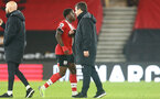 SOUTHAMPTON, ENGLAND - NOVEMBER 30: Michael Obafemi (L) of Southampton and David Horseman (R) during the Premier League 2 match between Southampton FC B Team and Brighton & Hove Albion at the St Mary's Stadium on November 30, 2020 in Southampton, England. (Photo by Isabelle Field/Southampton FC via Getty Images)