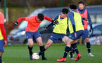 SOUTHAMPTON, ENGLAND - DECEMBER 03 : Luke Pearce(L)  and Marco Rus(R)during Southampton U18s training session at Staplewood Complex on December 03, 2020 in Southampton, England. (Photo by Isabelle Field/Southampton FC via Getty Images)