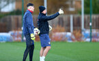 SOUTHAMPTON, ENGLAND - DECEMBER 03 : Oliver Wright(L) and Steve Grinham during Southampton U18s training session at Staplewood Complex on December 03, 2020 in Southampton, England. (Photo by Isabelle Field/Southampton FC via Getty Images)