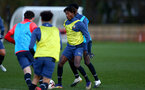 SOUTHAMPTON, ENGLAND - DECEMBER 03 : Ramello Mitchell(L) during Southampton U18s training session at Staplewood Complex on December 03, 2020 in Southampton, England. (Photo by Isabelle Field/Southampton FC via Getty Images)